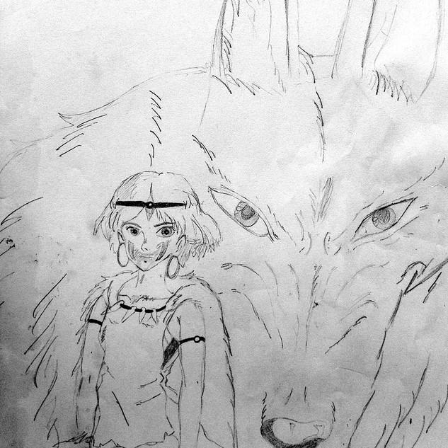Drawing by Elisa LE HIR from comic Princess Mononoke by Hayao Miayazaki
