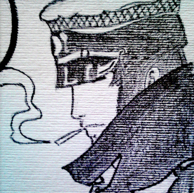 drawing by Elisa LE HIR from comic Corto Maltese by Hugo Pratt