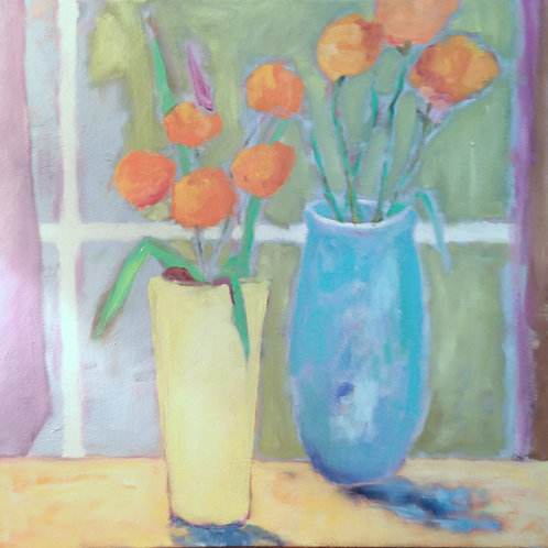 """Still Life With Cone Flowers"" by Kathy Wright"