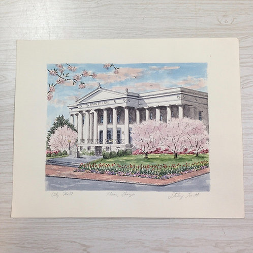 """""""City Hall"""" by Sterling Everett (Hand watercolored)"""