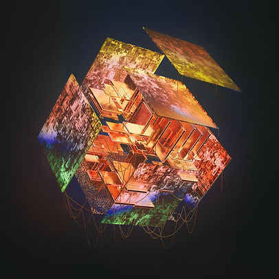 Floating squares, wires, colors, abstract art, psychedelic art