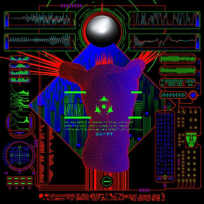 neon colors, human form, waveforms, electronics, psychedelic art