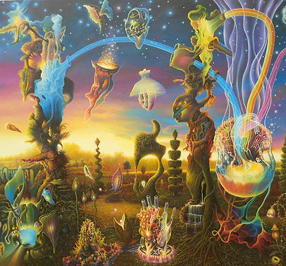 gardens, jellyfish, orbs, colors, psychedelic art, James McCarthy