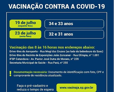 Amanhã é dia de vacinar catanduvenses com 33 e 34 anos