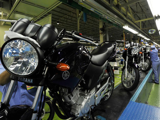 Produção de motocicletas cresce 30,2% em agosto