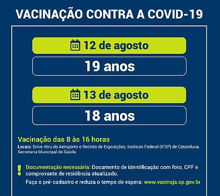 Catanduva amplia vacinação para toda a população acima de 18 anos