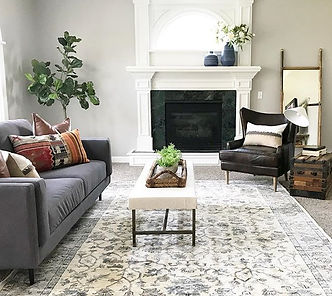 Pillows, chairs, couch, coffee table - Staging
