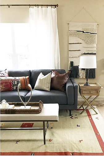 Decorated couch and rug