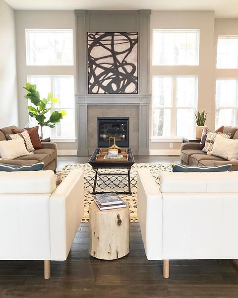 Living room staging with couches and chairs
