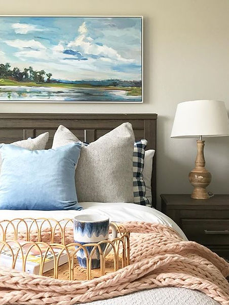 Home Staging - Bedroom staging with blanket and decor