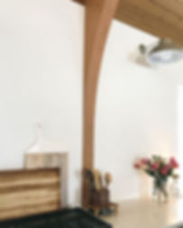 #thechurchproject, church to home, leather ottoman, wood ceilings, cement lamp, mid century modern, cowhide rug, tongue and groove ceilings, s+e designs, white walls, beams, exposed beams, wood ceilings, interior design