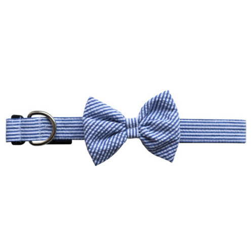 Seersucker Dog Bow Tie Collar