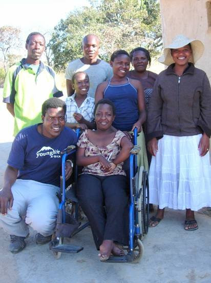 Thando with her family and Patson and Sindi of YL Zimbabwe