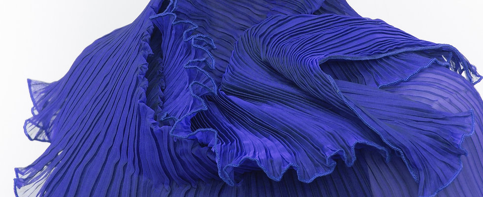 Classic Pleated Scarf. Blues