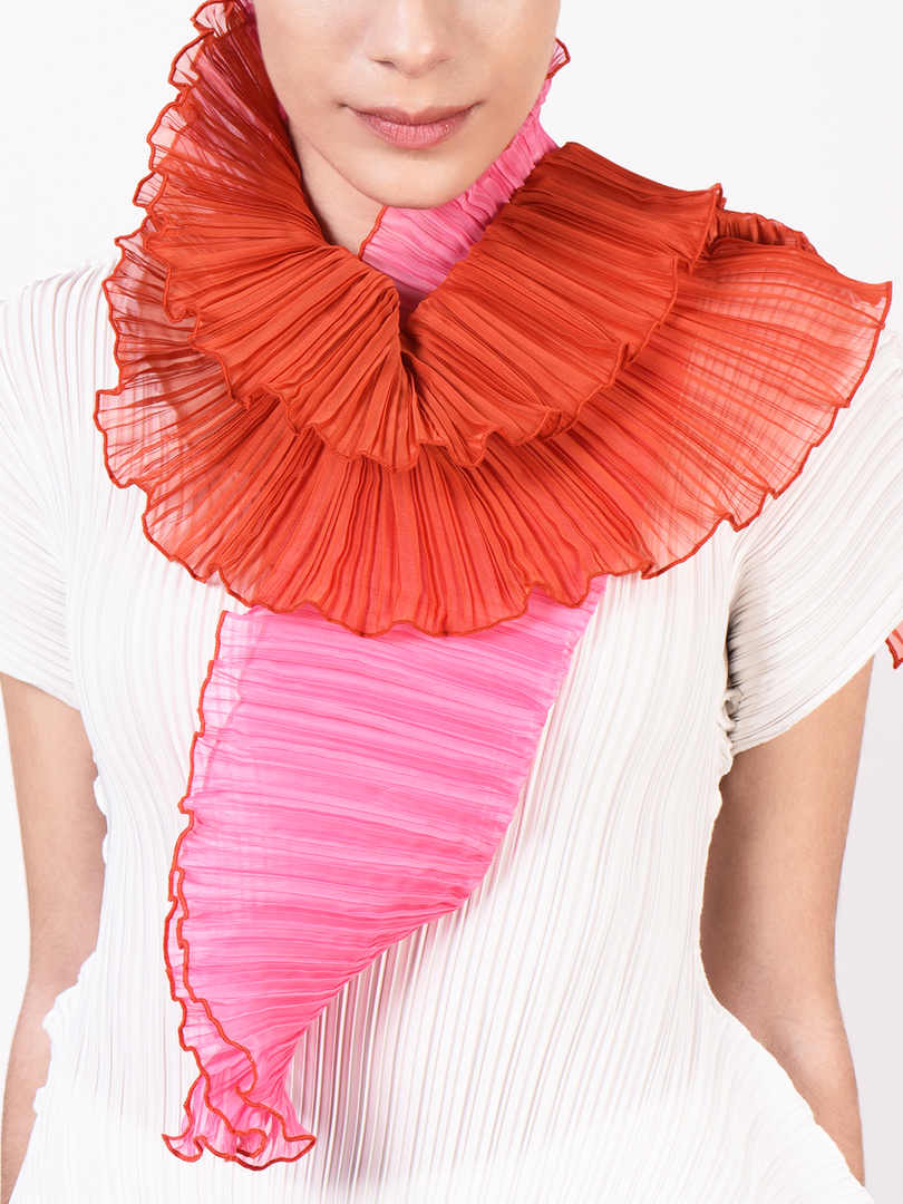 Two-tone Pleated Scarf
