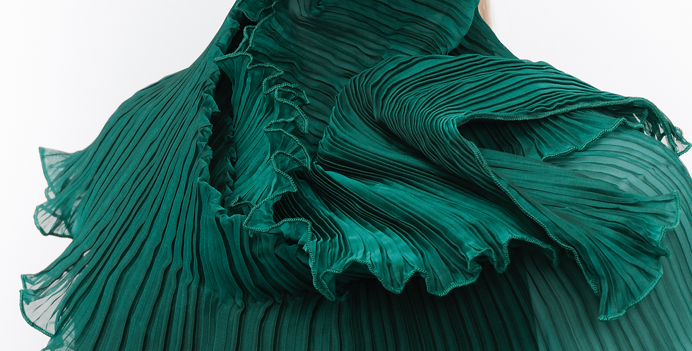 Classic Pleated Scarf. Greens