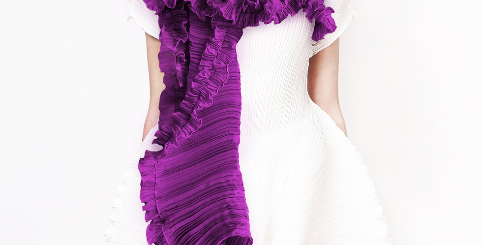 Evergreen Pleated Scarf. Purples