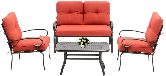 4 Piece Outdoor Patio Cushioned Set