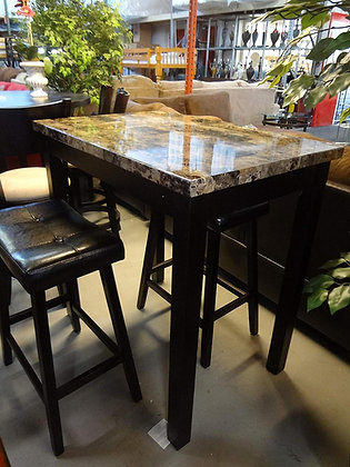 3-Piece Counter Height Glossy Print Marble Table Set