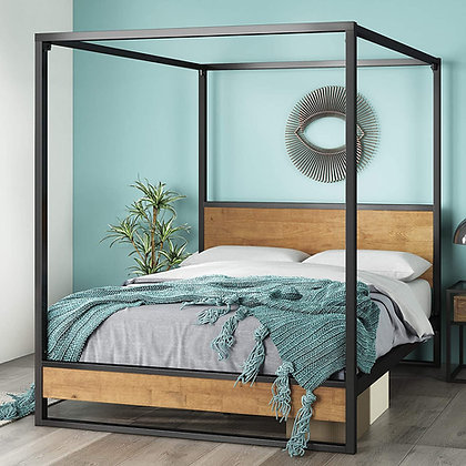 Zinus Metal and Wood Canopy Platform Bed Frame