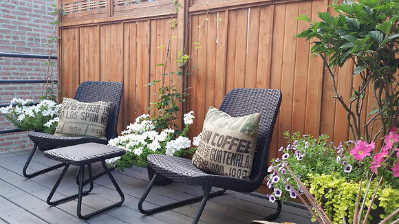 3 Pc All Weather Outdoor Patio Garden Conversation Chair & Table Set