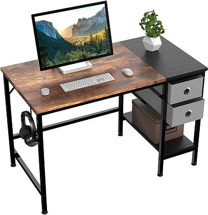 Sleek Office Desk w/ Metal Storage Shelves