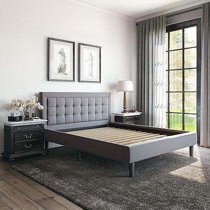 Upholstered Platform Bed - Headboard and Metal Frame