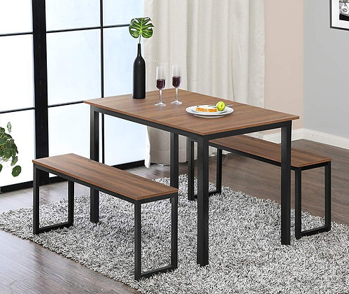Homury Modern Dining Table with Two Benches (3 Piece Set)