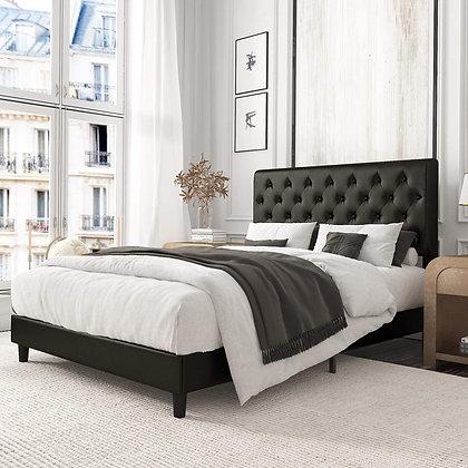 Leather Upholstered Modern Tufted Platform Bed