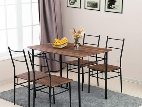 5 Piece Dining Table Set - Vintage Wood Kitchen Table w/ 4 Chairs