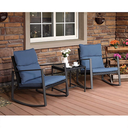3-Piece Patio Furniture Rocking Chairs & Glass-Top Table