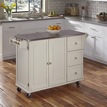 Liberty White Kitchen Cart with Stainless Steel Top
