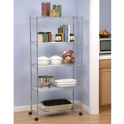 Classics 5-Tier Steel Wire Shelving with Wheels