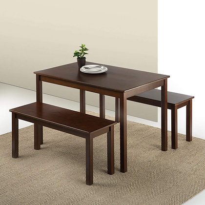 Zinus Pine Wood Dining Table w/ 2 Benches