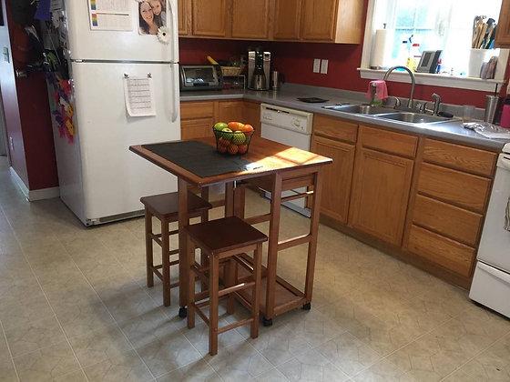 3 Pieces Space Saver Teak Kitchen Table Set