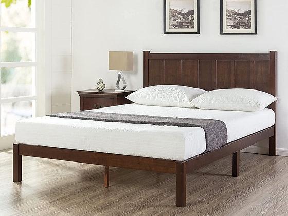 Zinus Wood Rustic Style Platform Bed with Headboard