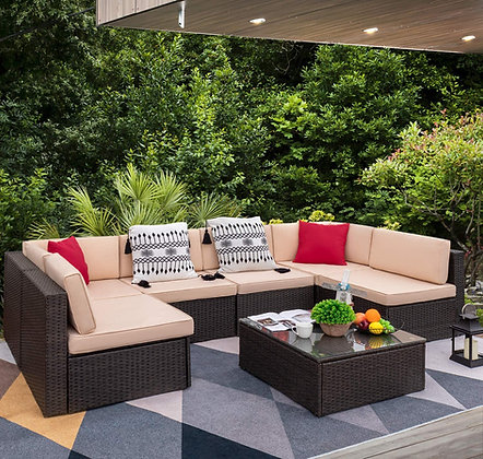 7 Pieces Outdoor Sectional Sofa All-Weather Patio Furniture Set