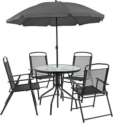 6 Piece Patio Dining and Conversation Umbrella Set