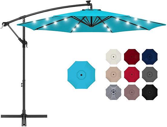 10ft Solar LED Hanging Patio Umbrella