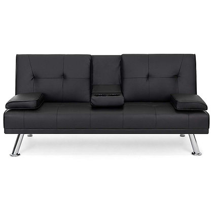 Leather Futon Sofa Bed & Recliner Couch (with Cup Holders)