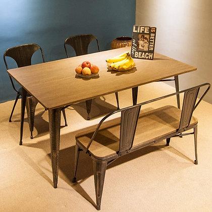 Elegant Antique Style Rectangular Dining Table w/ Metal Legs