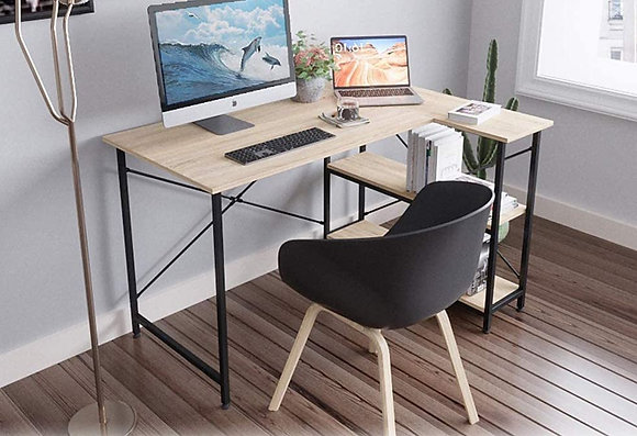 L-Shaped Office Computer Desk with Storage Shelves