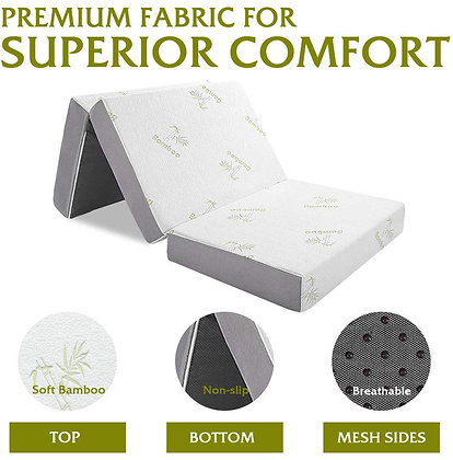 Tri-fold Mattress with Ultra Soft Removable Bamboo Cover