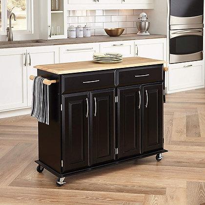 Dolly Madison Black Kitchen Island Cart