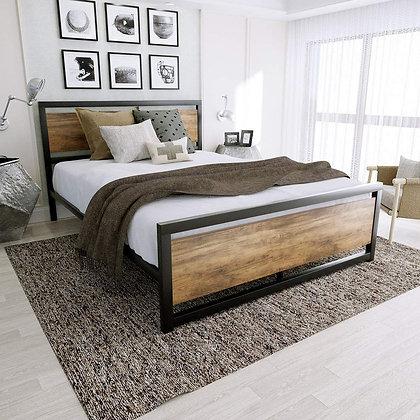Amooly Metal Bed Frame with hardwood Headboard