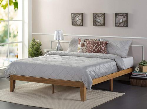 Zinus Alexia Wood Platform Bed Rustic Pine Finish Comfy