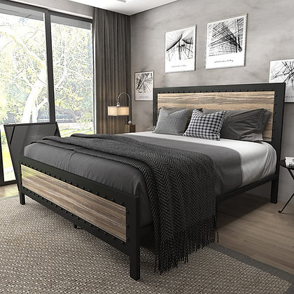 Heavy Duty Metal Bed Frame with Wooden Headboard and Footboard