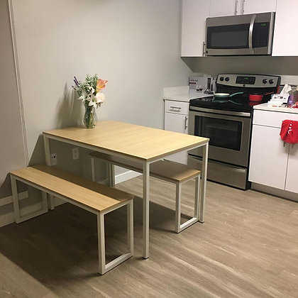 Zinus Dining Table Set with Two Benches (3 Pieces)