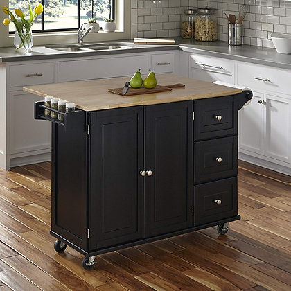 Modern Black Kitchen Island Cart with Wood Top