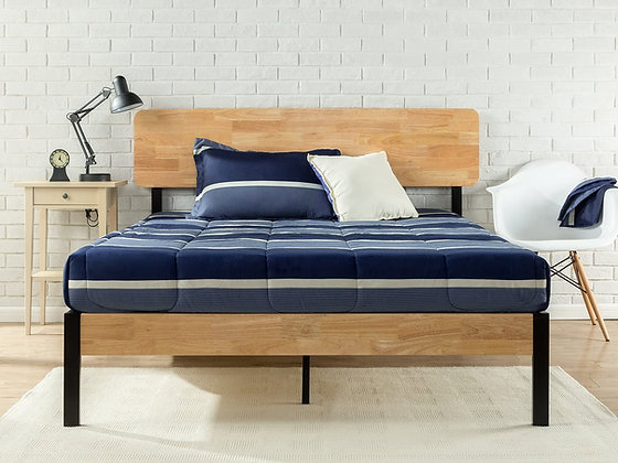 Metal and Wood Platform Bed with Wood Slat Support